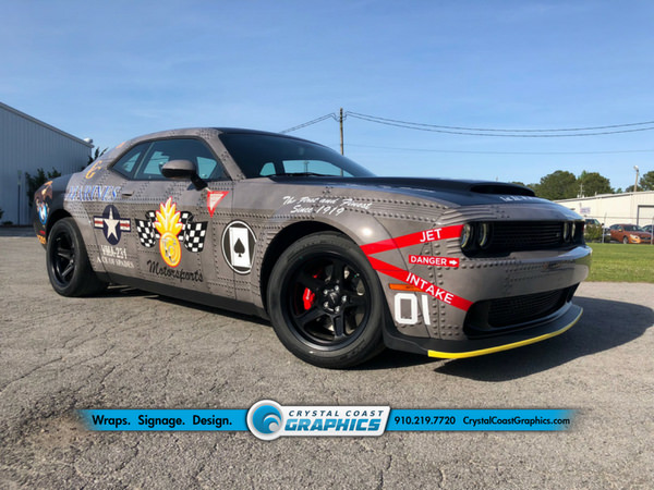 Dodge Demon vehicle wrap by Crystal Coast Graphics.