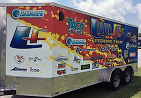 Custom trailer wrap by Crystal Coast Graphics.